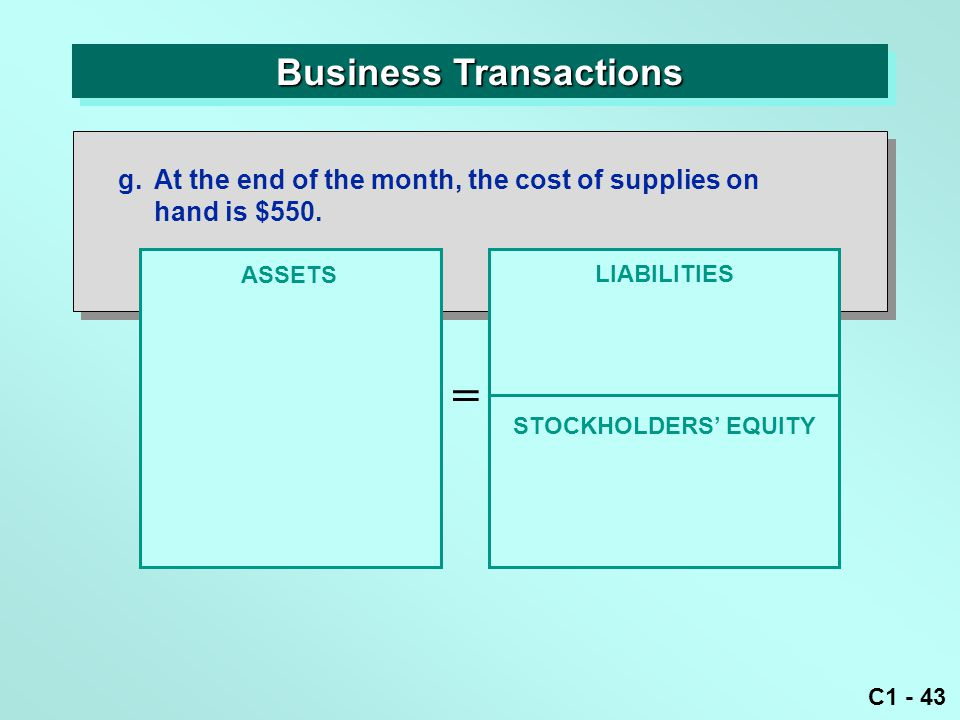 C1 - 43 Business Transactions ASSETS = LIABILITIES g.At the end of the month, the cost of supplies on hand is $550.