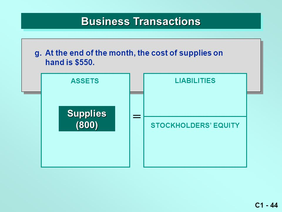 C1 - 44 Business Transactions ASSETS = LIABILITIES Supplies(800) g.At the end of the month, the cost of supplies on hand is $550.