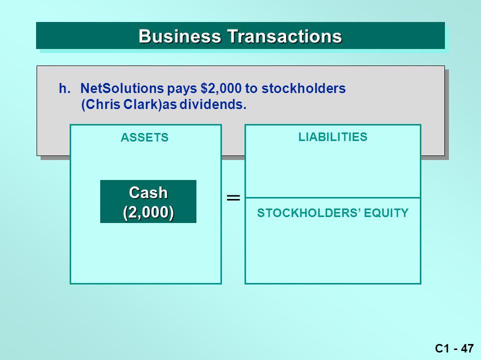 C1 - 47 Business Transactions ASSETS = LIABILITIES Cash(2,000) h.