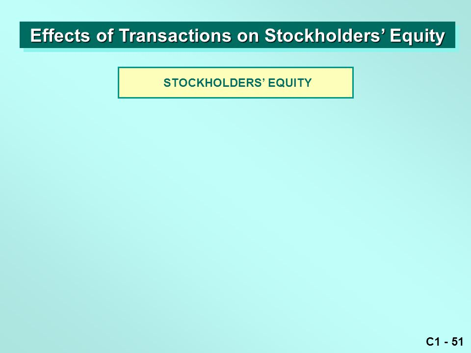 C1 - 51 STOCKHOLDERS' EQUITY Effects of Transactions on Stockholders' Equity