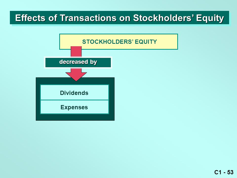 C1 - 53 decreased by STOCKHOLDERS' EQUITY Dividends Expenses Effects of Transactions on Stockholders' Equity