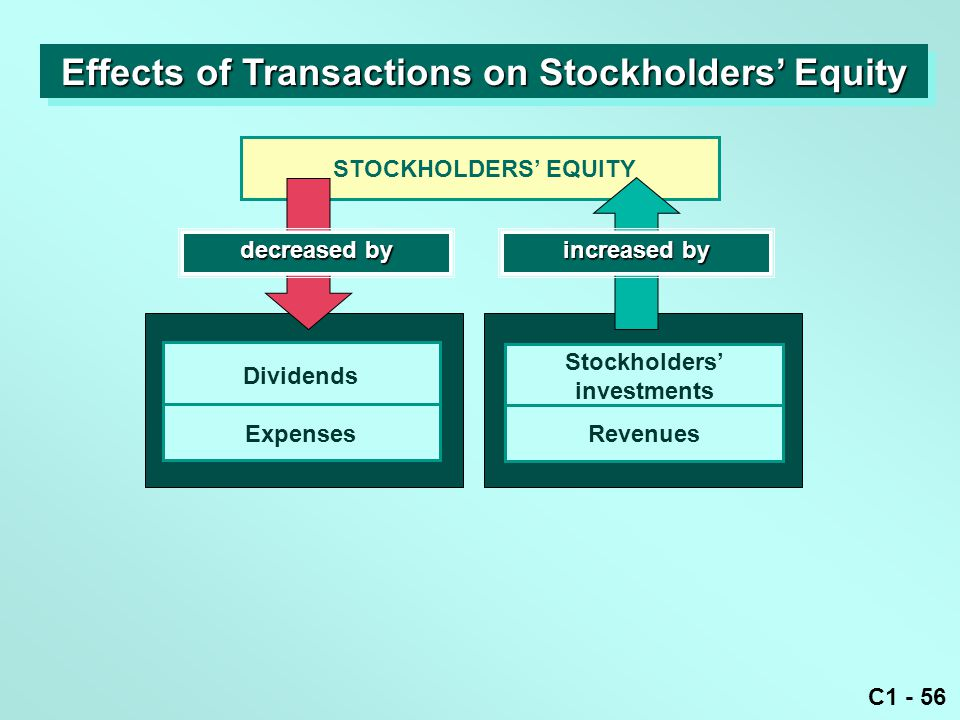C1 - 56 STOCKHOLDERS' EQUITY Dividends Expenses decreased by increased by Stockholders' investments Revenues Effects of Transactions on Stockholders'