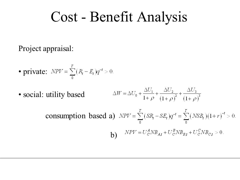 Cost - Benefit Analysis Project appraisal: private: social: utility based consumption based a) b)