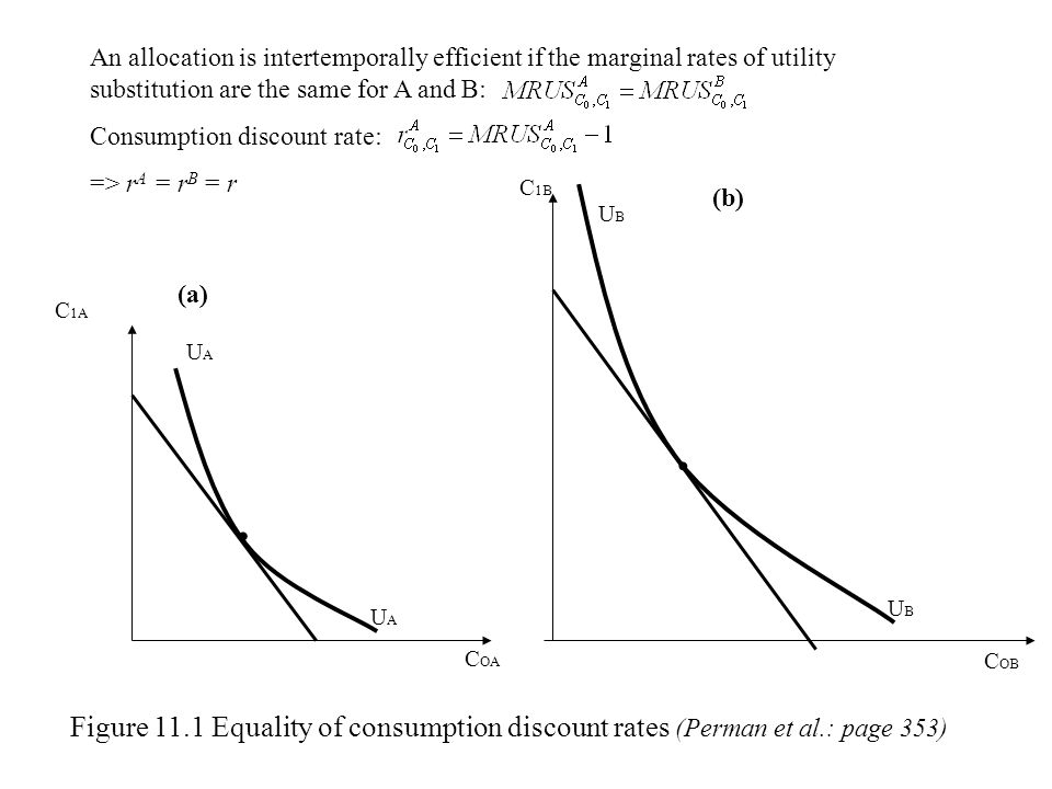 UAUA UAUA C OA C 1A (a) C OB C 1B UBUB UBUB (b) Figure 11.1 Equality of consumption discount rates (Perman et al.: page 353) An allocation is intertem