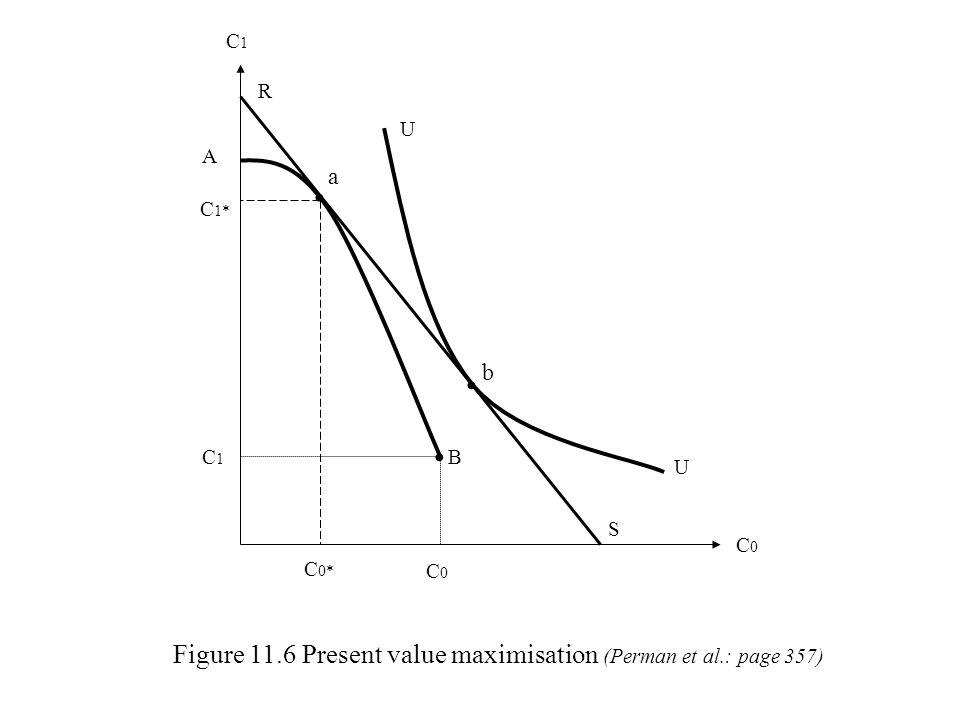 C1C1 C0C0 U U Figure 11.6 Present value maximisation (Perman et al.: page 357) b a A C 1* C1C1 R B C 0* C0C0 S