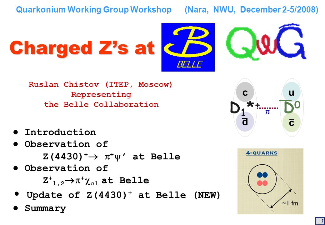 22 Summary of Belle results on manifestly exotic states 2007: Belle observed first charged charmoniumlike state, Z(4430) + decaying into ' + 2008: Belle continued the study of BK(cc) decays and observed two new charged charmoniumlike states Z(4050) + and Z(4250) +, decaying into  +  c1 Update on Z(4430) + : Dalitz Plot analysis confirms original observation.