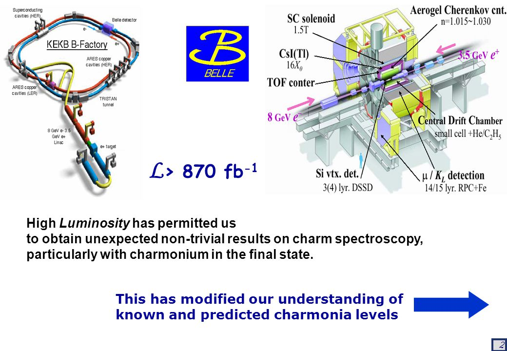 2 L > 870 fb -1 High Luminosity has permitted us to obtain unexpected non-trivial results on charm spectroscopy, particularly with charmonium in the final state.