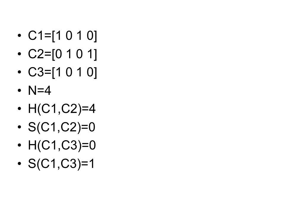 C1=[1 0 1 0] C2=[0 1 0 1] C3=[1 0 1 0] N=4 H(C1,C2)=4 S(C1,C2)=0 H(C1,C3)=0 S(C1,C3)=1