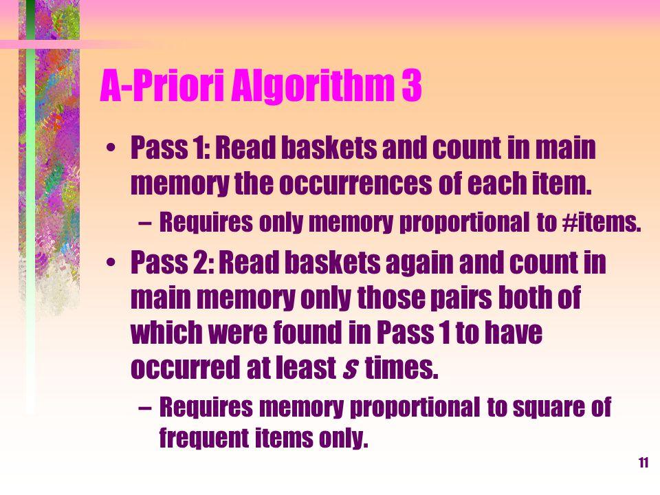 12 PCY Algorithm 1 Hash-based improvement to A-Priori.