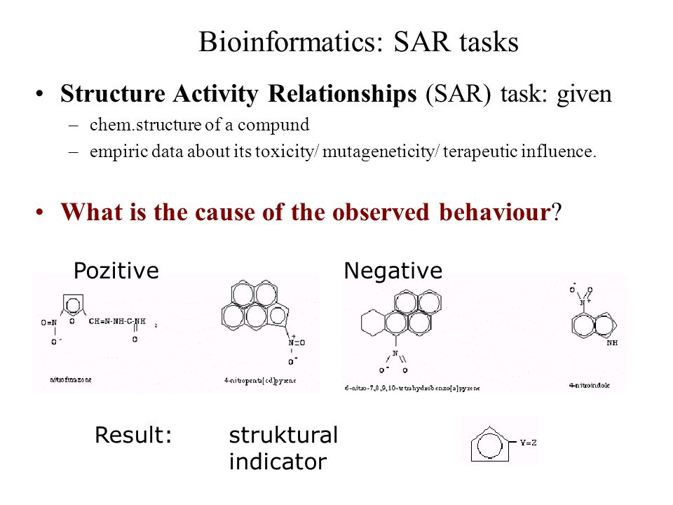 Bioinformatics: SAR tasks Structure Activity Relationships (SAR) task: given –chem.structure of a compund –empiric data about its toxicity/ mutageneti