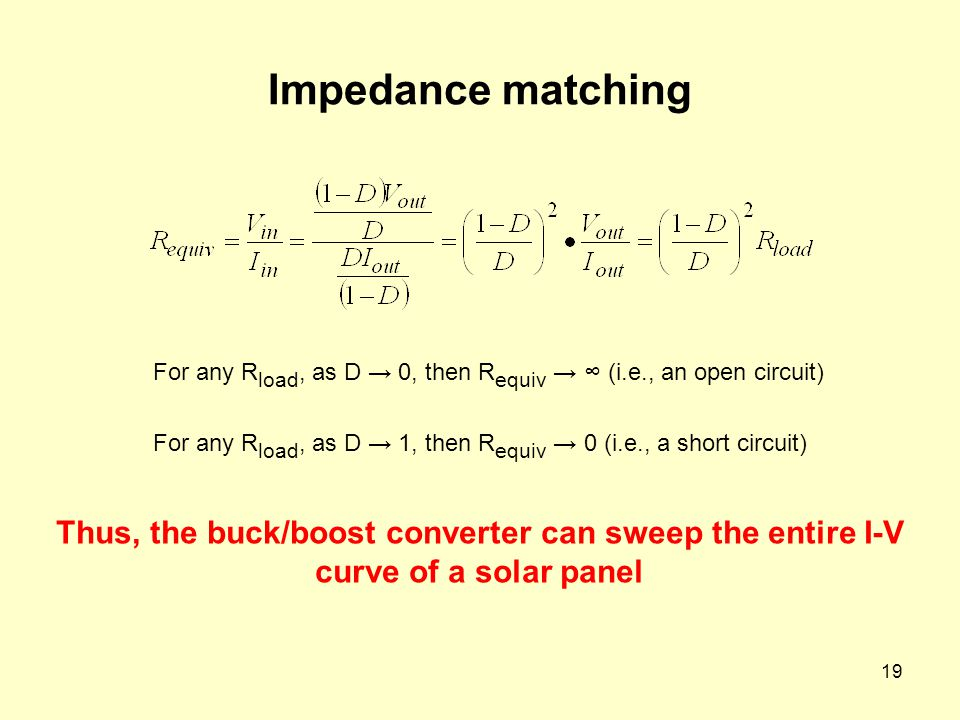 19 Impedance matching For any R load, as D → 0, then R equiv → ∞ (i.e., an open circuit) For any R load, as D → 1, then R equiv → 0 (i.e., a short cir