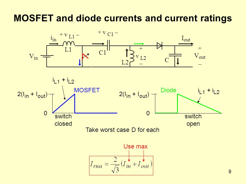 9 MOSFET and diode currents and current ratings 0 2(I in + I out ) 0 Take worst case D for each V in i L1 + v L1 – + v L2 – C1 + v C1 – L2 + V out – I