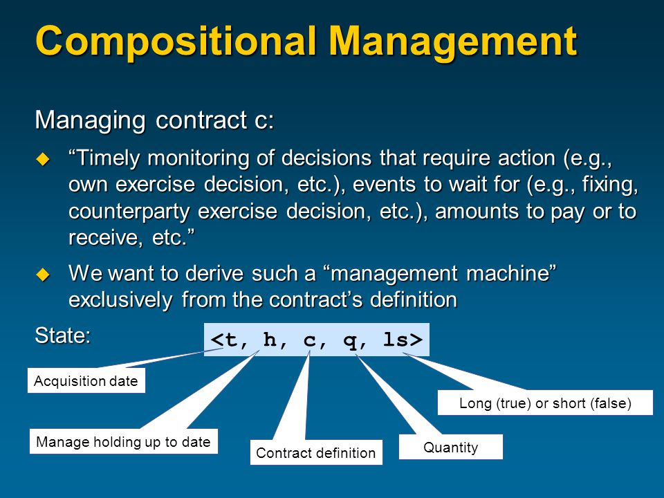 Compositional Management Managing contract c:  Timely monitoring of decisions that require action (e.g., own exercise decision, etc.), events to wait for (e.g., fixing, counterparty exercise decision, etc.), amounts to pay or to receive, etc.  We want to derive such a management machine exclusively from the contract's definition State: Contract definition Quantity Long (true) or short (false) Manage holding up to date Acquisition date