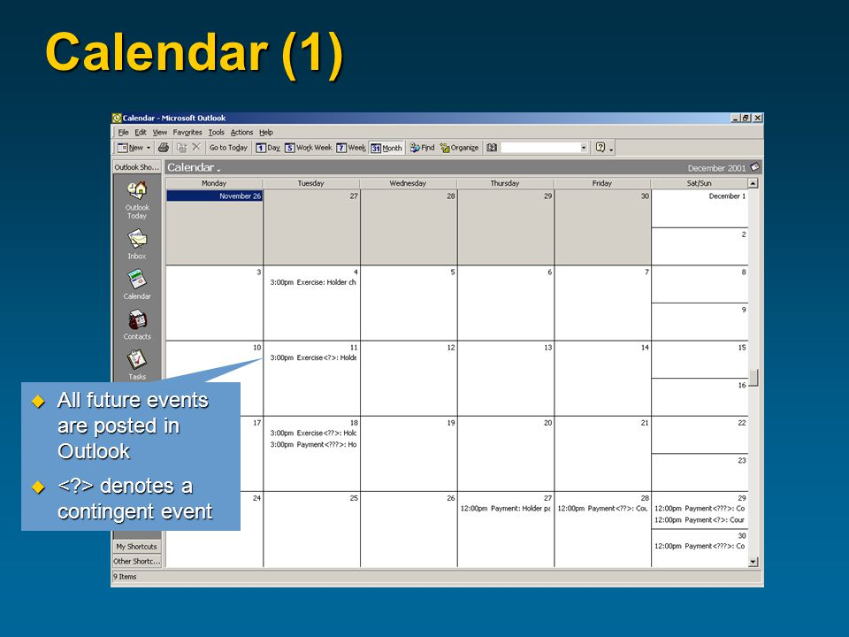 Calendar (1)  All future events are posted in Outlook  denotes a contingent event