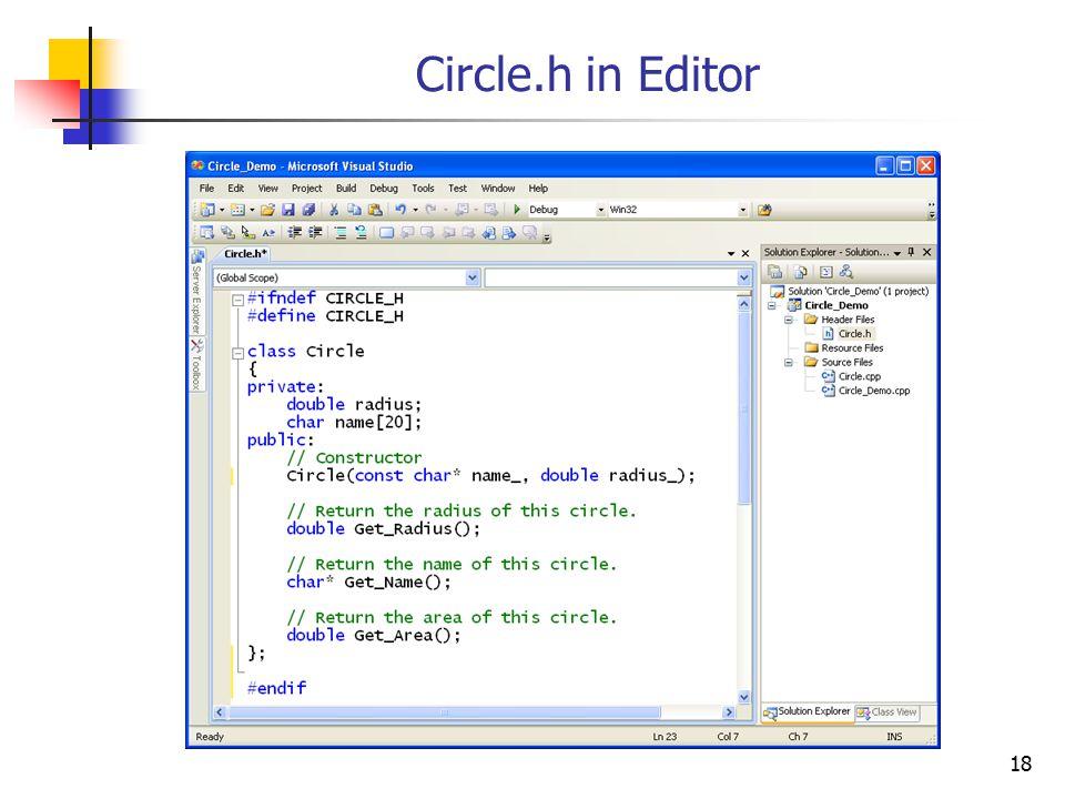 18 Circle.h in Editor
