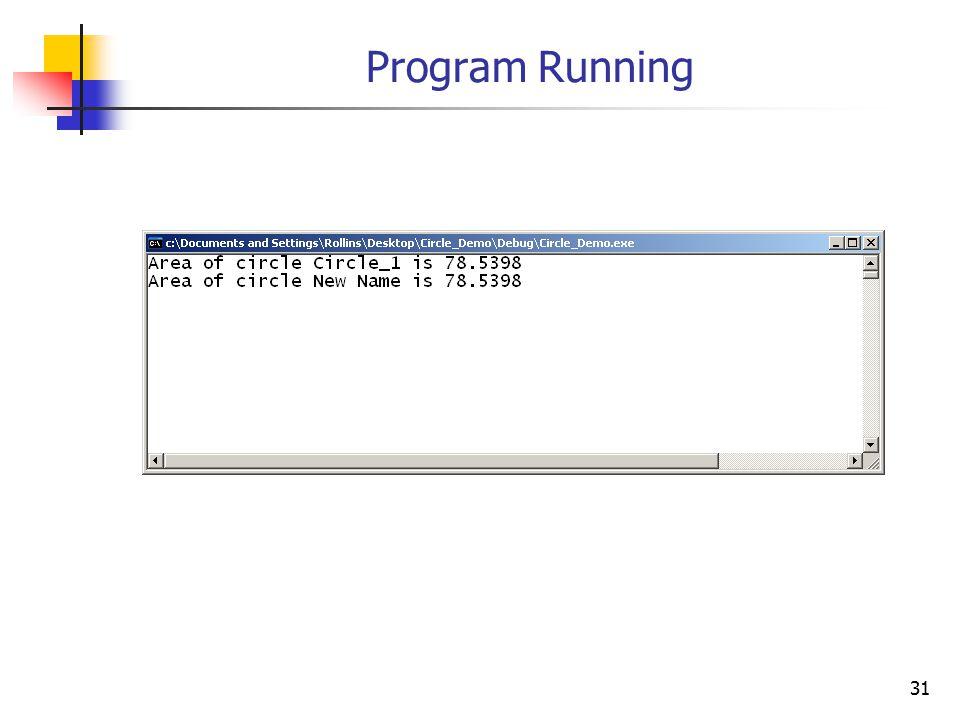 31 Program Running