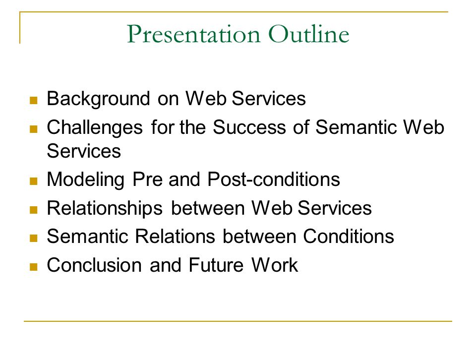Semantic Relation between Two Conditions The relationship between two services can be identified by checking the semantic relations between their pre and post-conditions.