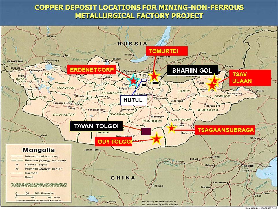 29 ERDENET CORP. OUY TOLGOI COPPER DEPOSIT LOCATIONS FOR MINING-NON-FERROUS METALLURGICAL FACTORY PROJECT HUTUL SHARIIN GOL TAVAN TOLGOI TSAGAAN SUBRA