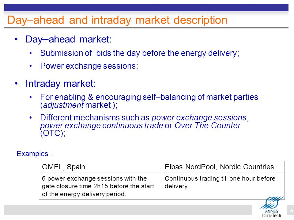 5 Day–ahead and intraday market description Day – ahead market: Submission of bids the day before the energy delivery; Power exchange sessions; OMEL, SpainElbas NordPool, Nordic Countries 6 power exchange sessions with the gate closure time 2h15 before the start of the energy delivery period.