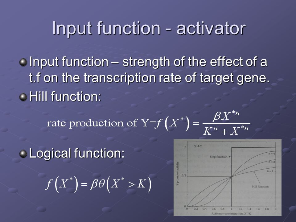 Input function - activator Input function – strength of the effect of a t.f on the transcription rate of target gene. Hill function: Logical function: