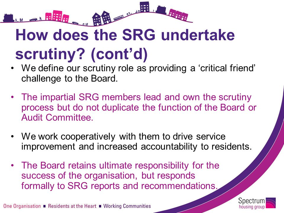 How does the SRG undertake scrutiny? (cont'd) We define our scrutiny role as providing a 'critical friend' challenge to the Board. The impartial SRG m