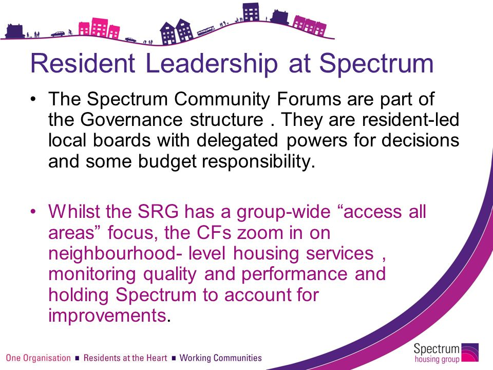 Resident Leadership at Spectrum The Spectrum Community Forums are part of the Governance structure. They are resident-led local boards with delegated