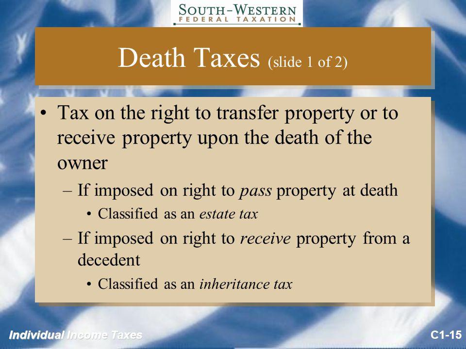 Individual Income Taxes Death Taxes (slide 1 of 2) Tax on the right to transfer property or to receive property upon the death of the owner –If imposed on right to pass property at death Classified as an estate tax –If imposed on right to receive property from a decedent Classified as an inheritance tax Tax on the right to transfer property or to receive property upon the death of the owner –If imposed on right to pass property at death Classified as an estate tax –If imposed on right to receive property from a decedent Classified as an inheritance tax C1-15