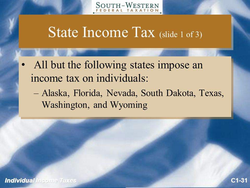Individual Income Taxes State Income Tax (slide 1 of 3) All but the following states impose an income tax on individuals: –Alaska, Florida, Nevada, South Dakota, Texas, Washington, and Wyoming All but the following states impose an income tax on individuals: –Alaska, Florida, Nevada, South Dakota, Texas, Washington, and Wyoming C1-31