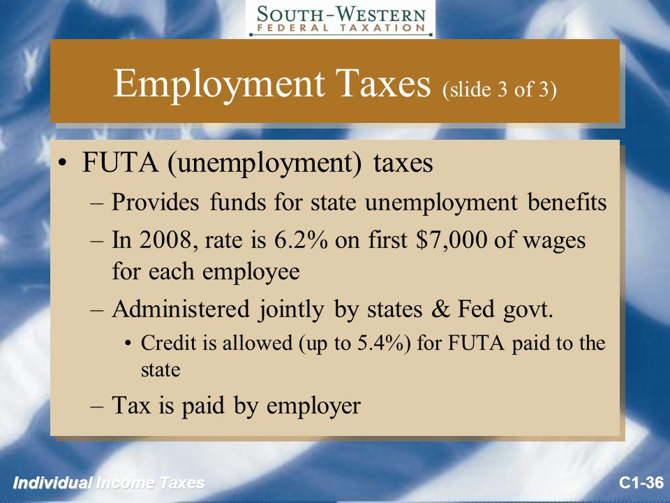 Individual Income Taxes Employment Taxes (slide 3 of 3) FUTA (unemployment) taxes –Provides funds for state unemployment benefits –In 2008, rate is 6.2% on first $7,000 of wages for each employee –Administered jointly by states & Fed govt.