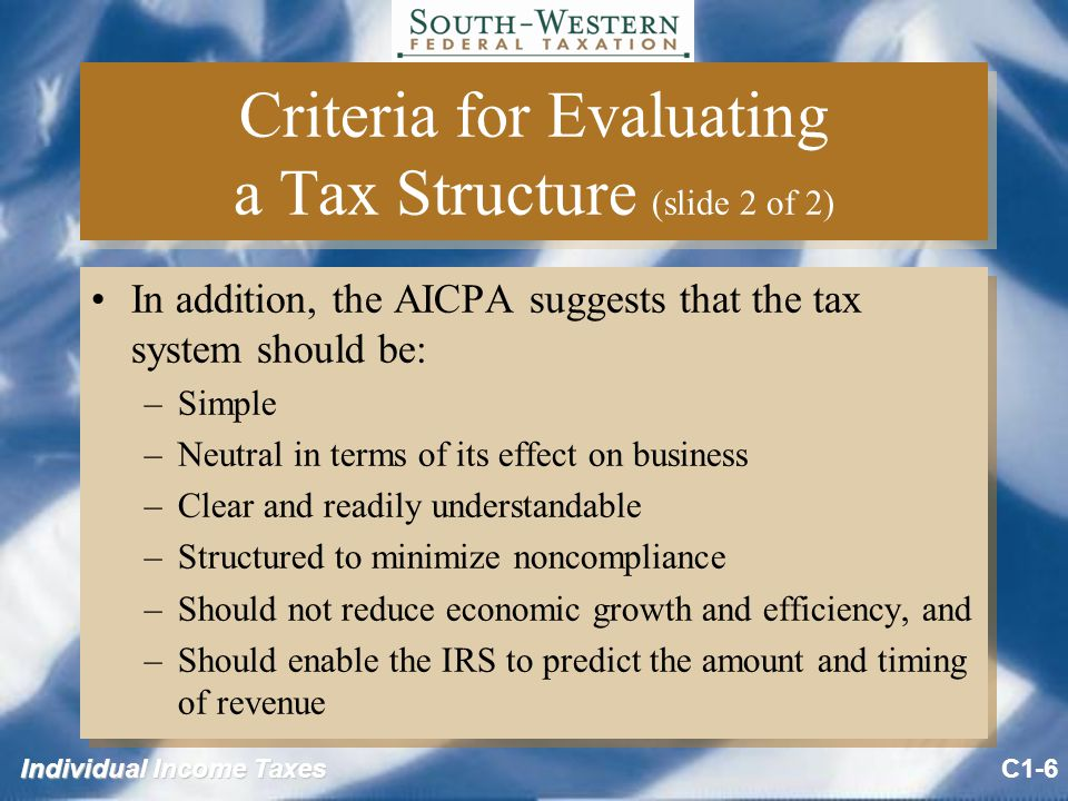 Individual Income Taxes Criteria for Evaluating a Tax Structure (slide 2 of 2) In addition, the AICPA suggests that the tax system should be: –Simple –Neutral in terms of its effect on business –Clear and readily understandable –Structured to minimize noncompliance –Should not reduce economic growth and efficiency, and –Should enable the IRS to predict the amount and timing of revenue In addition, the AICPA suggests that the tax system should be: –Simple –Neutral in terms of its effect on business –Clear and readily understandable –Structured to minimize noncompliance –Should not reduce economic growth and efficiency, and –Should enable the IRS to predict the amount and timing of revenue C1-6
