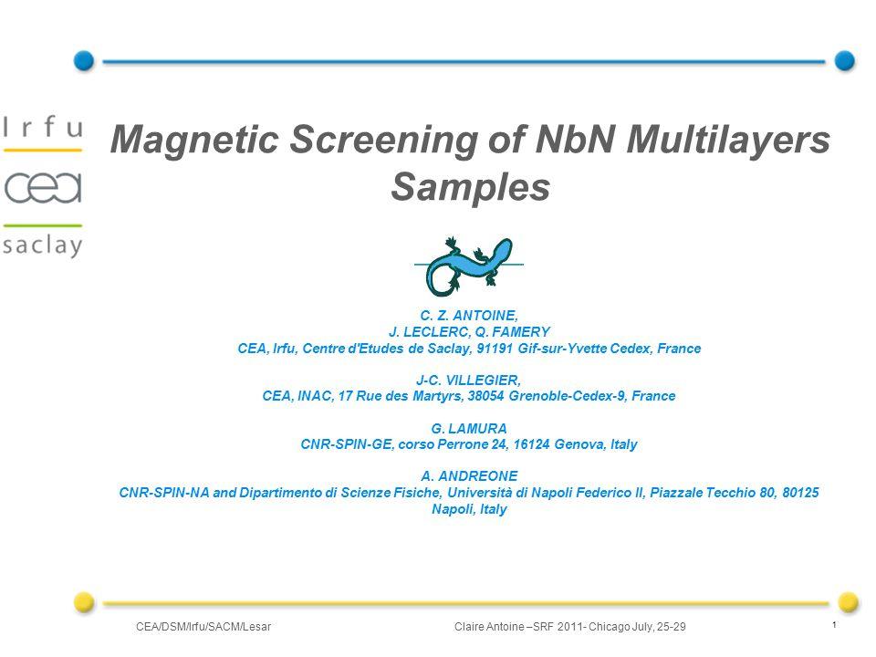 CEA/DSM/Irfu/SACM/LesarClaire Antoine –SRF 2011- Chicago July, 25-29 22 depositing and testing RF Cavities: IPN (Orsay) : 3GHz, LKB (Paris) : 50GHz Cavités 1.3 GHz @ Saclay (what deposition technique?!) TE011, ~3 GHz IPNO 1.3 GHz Irfu Future : Depositing and testing RF cavities 50 GHz LKB
