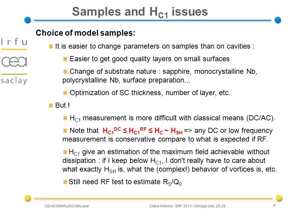 CEA/DSM/Irfu/SACM/LesarClaire Antoine –SRF 2011- Chicago July, 25-29 17 Local magnetometry (4) Sample SL : small Nb signal @ ~Tc Nb : Nb is sensed through the NbN layer .