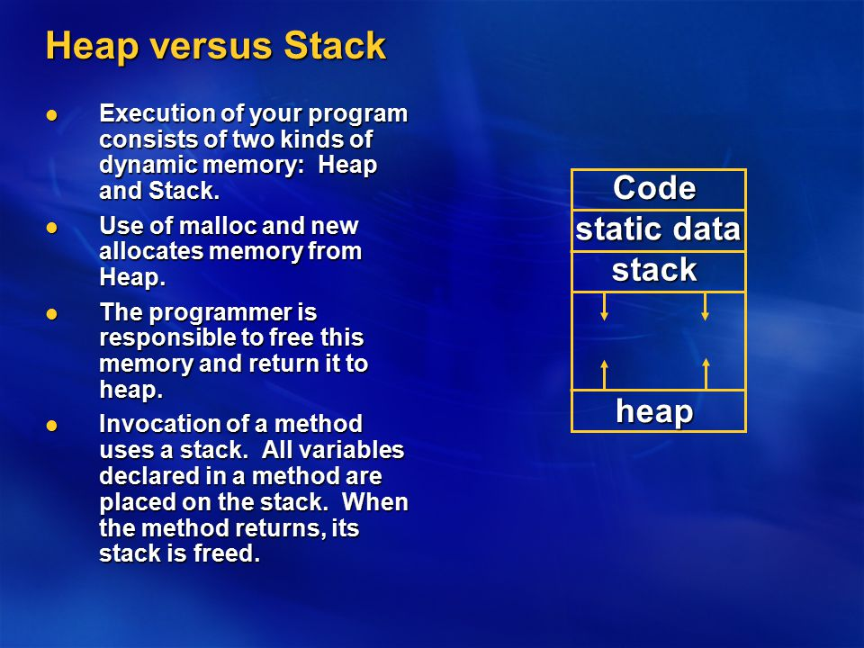 Heap versus Stack Execution of your program consists of two kinds of dynamic memory: Heap and Stack.