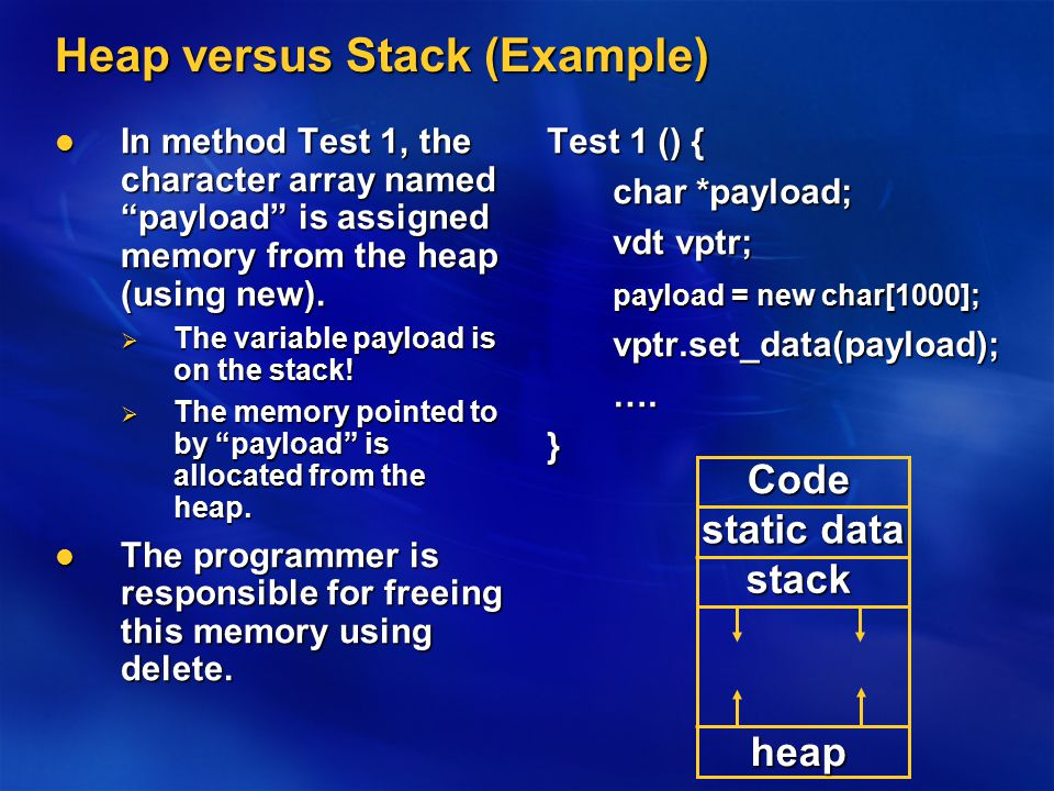 "Heap versus Stack (Example) In method Test 1, the character array named ""payload"" is assigned memory from the heap (using new). In method Test 1, the"