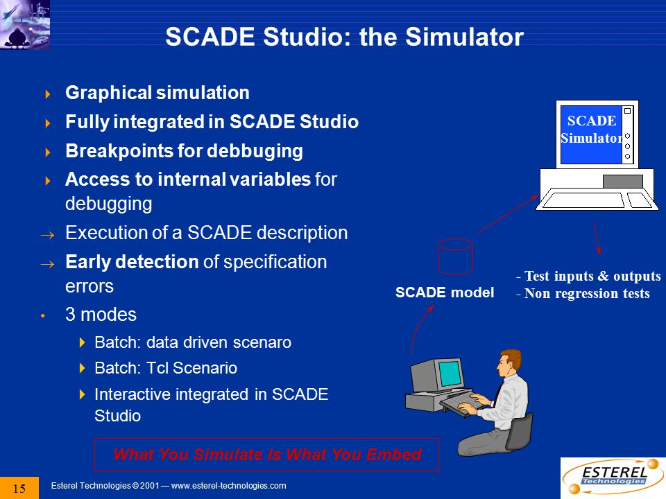 15 Esterel Technologies © 2001 — www.esterel-technologies.com SCADE Studio: the Simulator  Graphical simulation  Fully integrated in SCADE Studio 