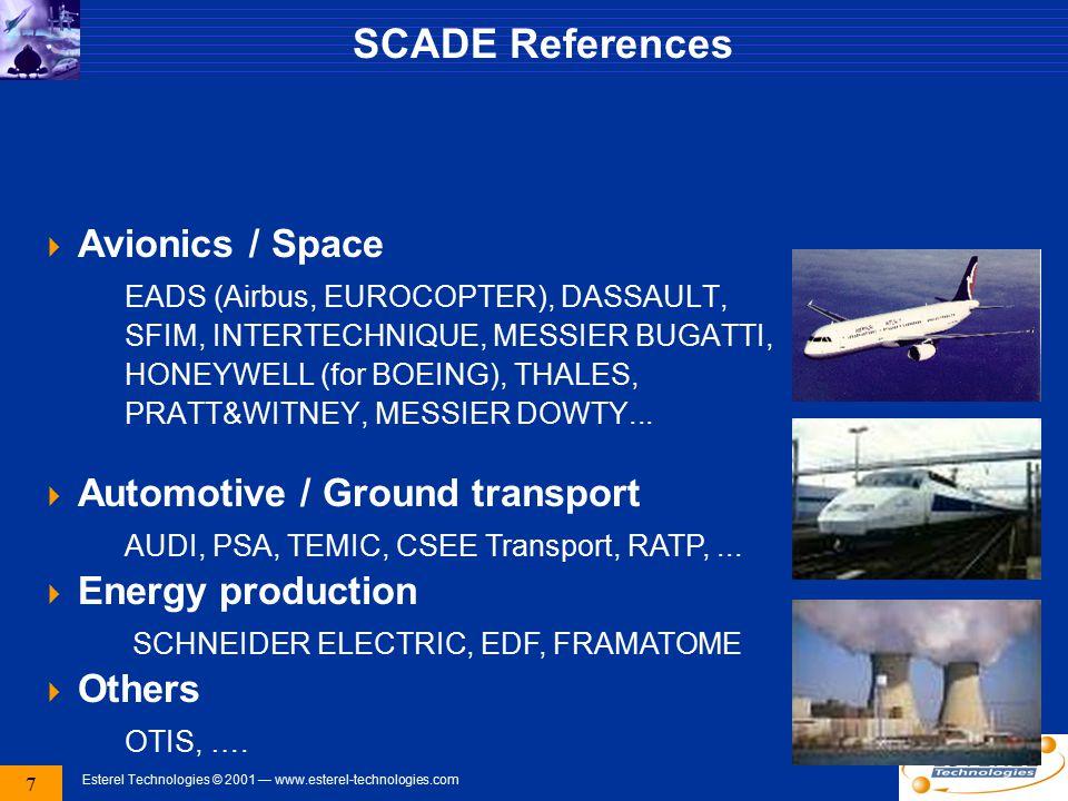 7 Esterel Technologies © 2001 — www.esterel-technologies.com SCADE References  Avionics / Space EADS (Airbus, EUROCOPTER), DASSAULT, SFIM, INTERTECHNIQUE, MESSIER BUGATTI, HONEYWELL (for BOEING), THALES, PRATT&WITNEY, MESSIER DOWTY...