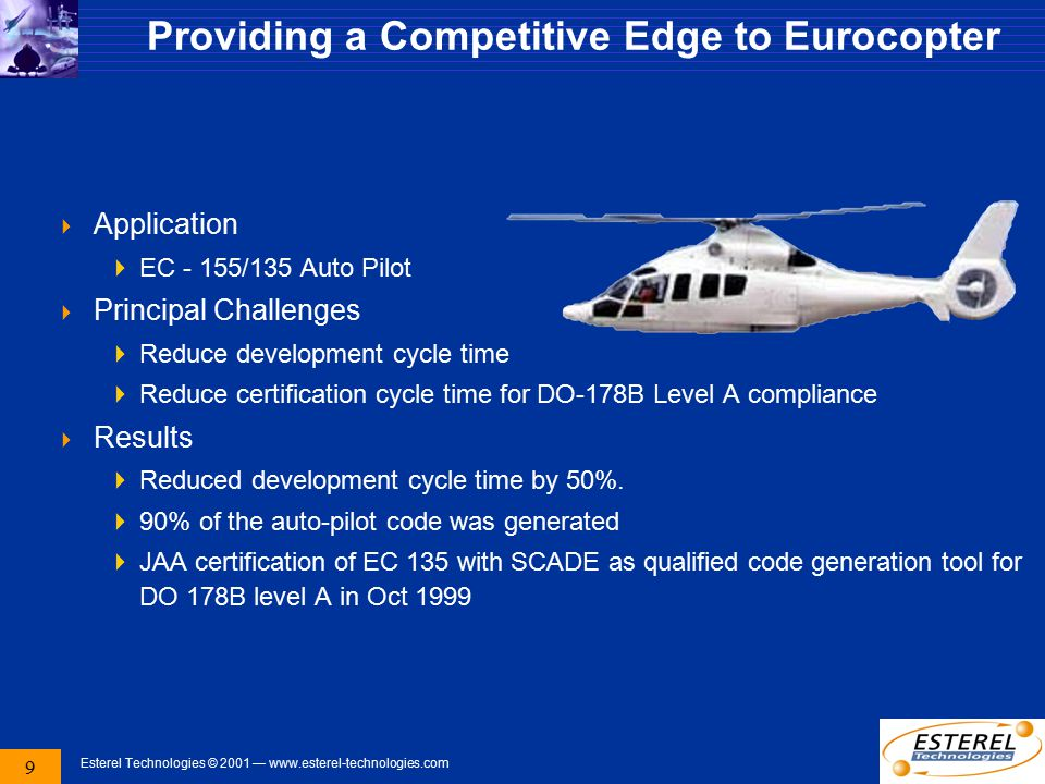 9 Esterel Technologies © 2001 — www.esterel-technologies.com Providing a Competitive Edge to Eurocopter  Application  EC - 155/135 Auto Pilot  Prin