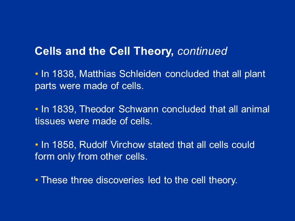 Cells and the Cell Theory, continued In 1838, Matthias Schleiden concluded that all plant parts were made of cells. In 1839, Theodor Schwann concluded