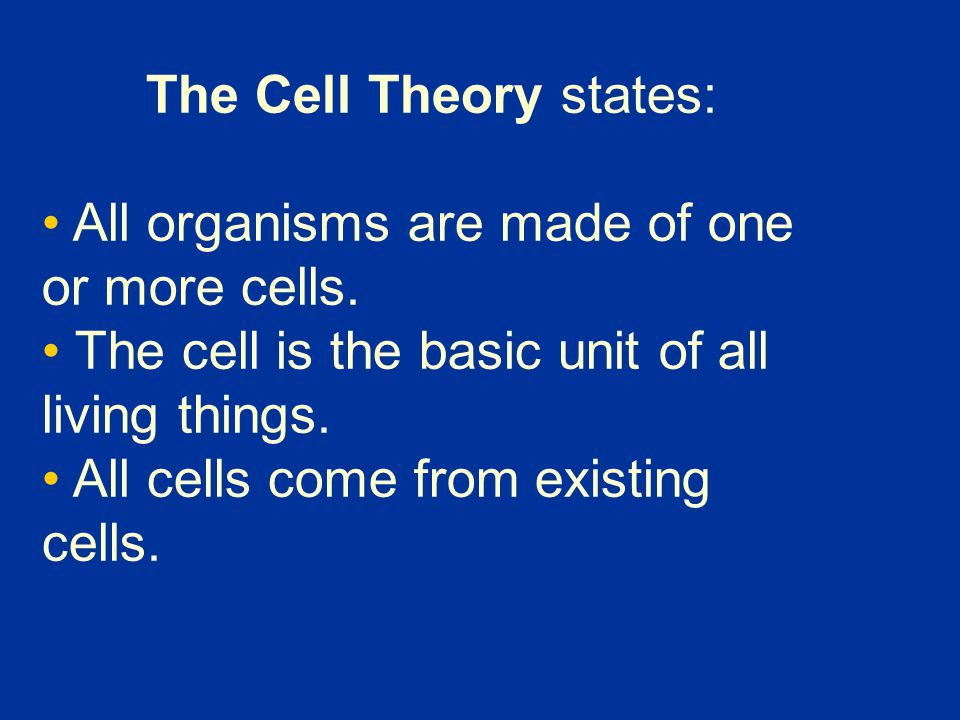 The Cell Theory states: All organisms are made of one or more cells. The cell is the basic unit of all living things. All cells come from existing cel