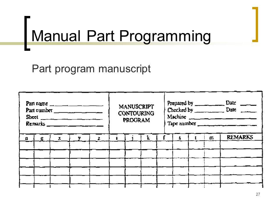 27 Manual Part Programming Part program manuscript