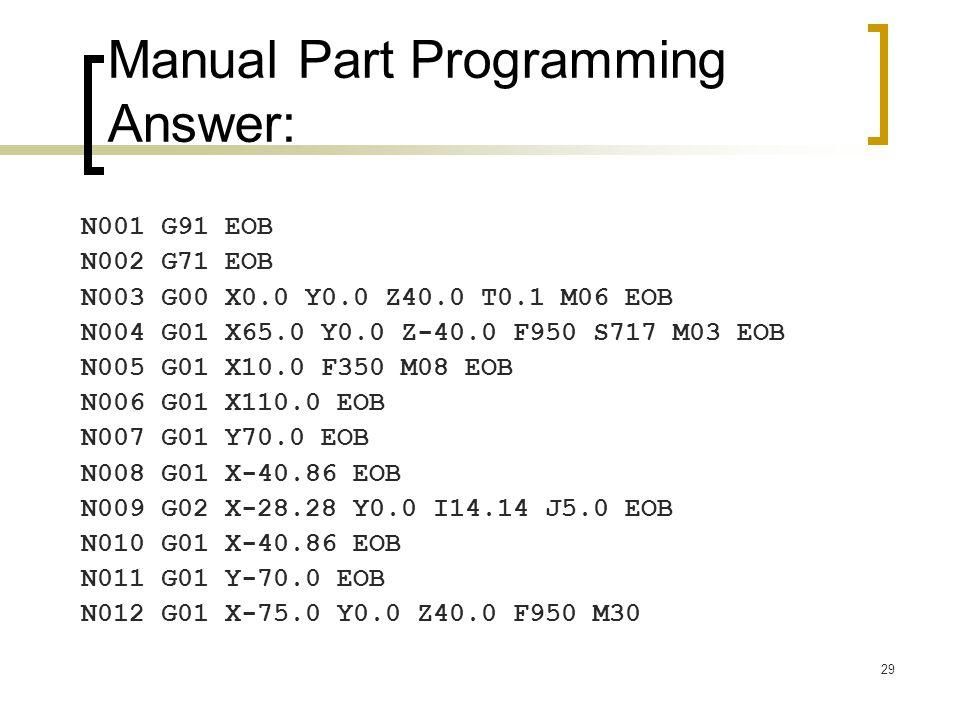 29 Manual Part Programming Answer: N001 G91 EOB N002 G71 EOB N003 G00 X0.0 Y0.0 Z40.0 T0.1 M06 EOB N004 G01 X65.0 Y0.0 Z-40.0 F950 S717 M03 EOB N005 G01 X10.0 F350 M08 EOB N006 G01 X110.0 EOB N007 G01 Y70.0 EOB N008 G01 X-40.86 EOB N009 G02 X-28.28 Y0.0 I14.14 J5.0 EOB N010 G01 X-40.86 EOB N011 G01 Y-70.0 EOB N012 G01 X-75.0 Y0.0 Z40.0 F950 M30