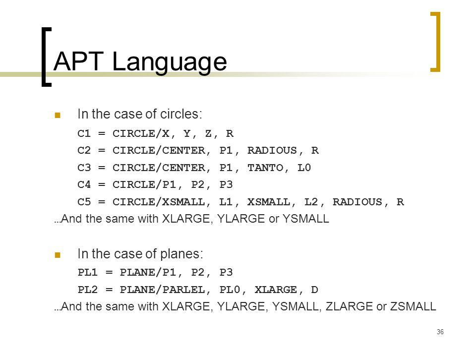 36 APT Language In the case of circles: C1 = CIRCLE/X, Y, Z, R C2 = CIRCLE/CENTER, P1, RADIOUS, R C3 = CIRCLE/CENTER, P1, TANTO, L0 C4 = CIRCLE/P1, P2, P3 C5 = CIRCLE/XSMALL, L1, XSMALL, L2, RADIOUS, R … And the same with XLARGE, YLARGE or YSMALL In the case of planes: PL1 = PLANE/P1, P2, P3 PL2 = PLANE/PARLEL, PL0, XLARGE, D … And the same with XLARGE, YLARGE, YSMALL, ZLARGE or ZSMALL