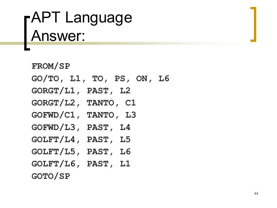 44 APT Language Answer: FROM/SP GO/TO, L1, TO, PS, ON, L6 GORGT/L1, PAST, L2 GORGT/L2, TANTO, C1 GOFWD/C1, TANTO, L3 GOFWD/L3, PAST, L4 GOLFT/L4, PAST, L5 GOLFT/L5, PAST, L6 GOLFT/L6, PAST, L1 GOTO/SP
