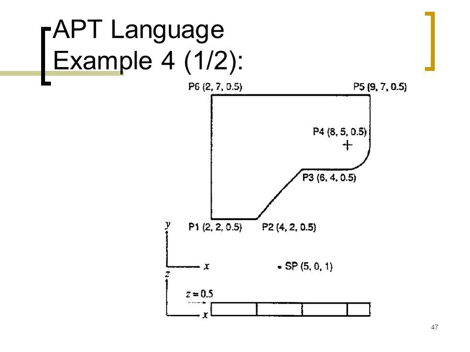 47 APT Language Example 4 (1/2):