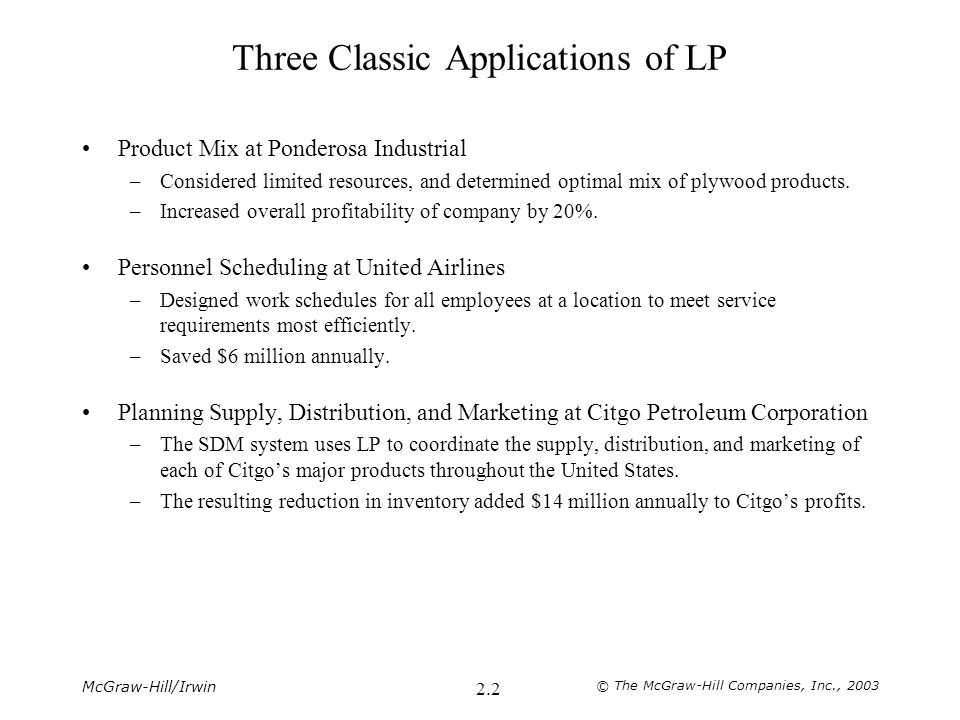 McGraw-Hill/Irwin © The McGraw-Hill Companies, Inc., 2003 2.13 Nonnegative Solutions Permitted by 2W ≤ 12