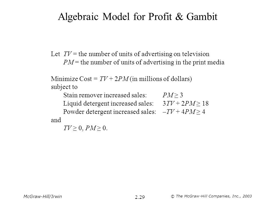 McGraw-Hill/Irwin © The McGraw-Hill Companies, Inc., 2003 2.29 Algebraic Model for Profit & Gambit LetTV = the number of units of advertising on television PM = the number of units of advertising in the print media Minimize Cost = TV + 2PM (in millions of dollars) subject to Stain remover increased sales: PM ≥ 3 Liquid detergent increased sales:3TV + 2PM ≥ 18 Powder detergent increased sales:–TV + 4PM ≥ 4 and TV ≥ 0, PM ≥ 0.
