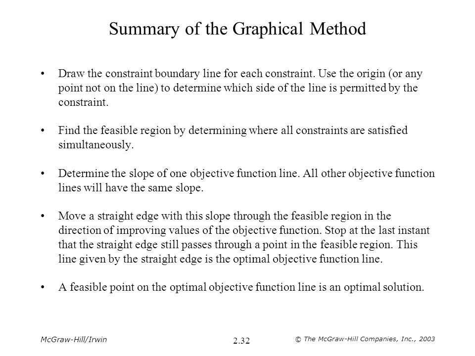 McGraw-Hill/Irwin © The McGraw-Hill Companies, Inc., 2003 2.32 Summary of the Graphical Method Draw the constraint boundary line for each constraint.