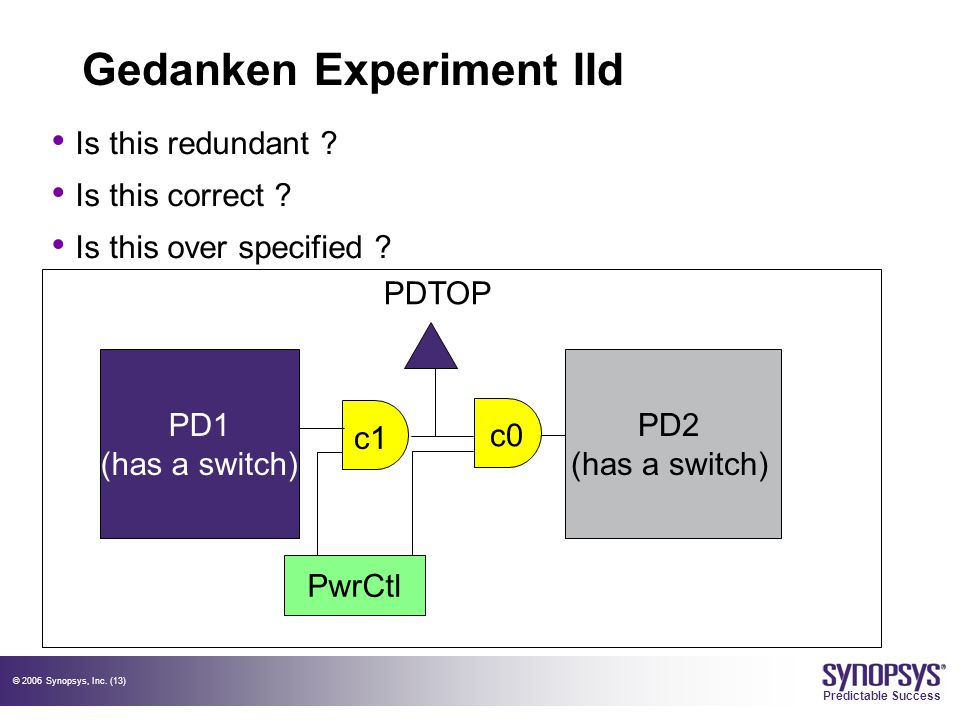 © 2006 Synopsys, Inc. (13) Predictable Success Gedanken Experiment IId Is this redundant ? Is this correct ? Is this over specified ? PD1 (has a switc