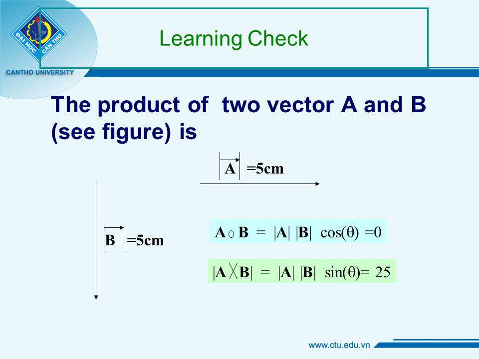 Learning Check The product of two vector A and B (see figure) is A =5cmB =5cm A.