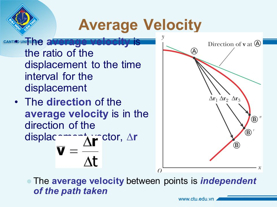 Average Velocity The average velocity is the ratio of the displacement to the time interval for the displacement The direction of the average velocity is in the direction of the displacement vector, ∆r l The average velocity between points is independent of the path taken